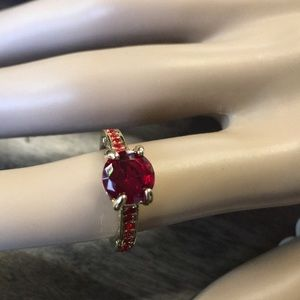Red Stone Gold Tone Ring Size 6